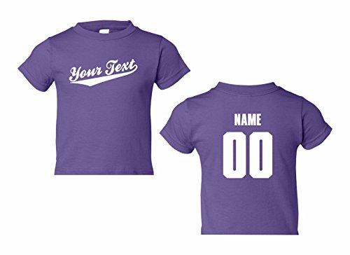 Toddler Custom Personalized T-shirt, Baseball Script, Back Name & Number