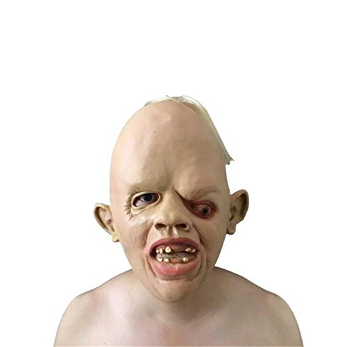 [Han Shi Zombie Mask Latex Creepy Scary Ugly Man Halloween Party Costume for Adults] (Prosthetic Fx Makeup Halloween Masks)