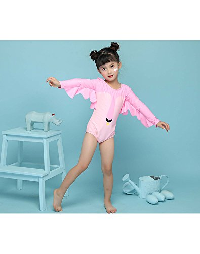 Delight Girls Swimsuits Long Sleeve Baby Girls Swimwear One Piece Clothing Pink 3-4 Years by Delight (Image #4)