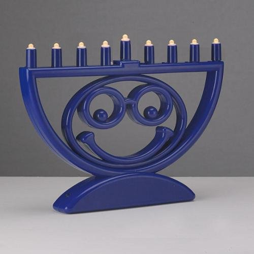 Rite Lite 8.5'' Battery Operated Blue Menoji LED Lighted Hanukkah Menorah by Rite Lite