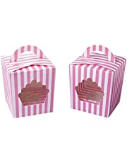 Large Single Cupcake Boxes Containers,Pink Individual Cardboard Cupcake Box Carrier with Insert & Handles and PVC Window for Birthday and Party Favors (Pink, 15)