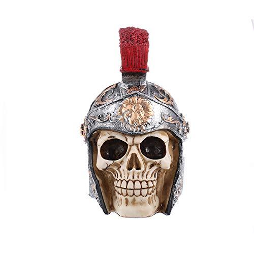 FIZZENN Ancient Rome Army Men Skull Sculpture Table Decoration Caesar General Lion Roman Skeleton Head Figurine -