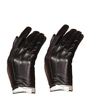 28cb086e9 YISEVEN Women's Touchscreen Sheepskin Leather Gloves White Bow Knot Wool or  Fleece Fur Lined Luxury for