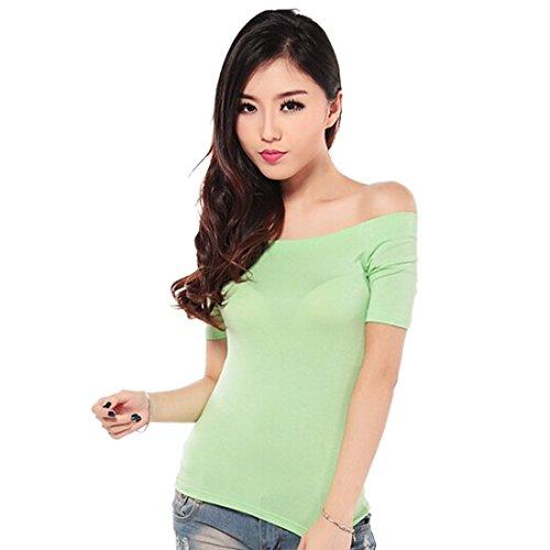 Mode Feminine Off-Epaule Casual Tops Blouse Coton Moulante Slim De T-Shirt