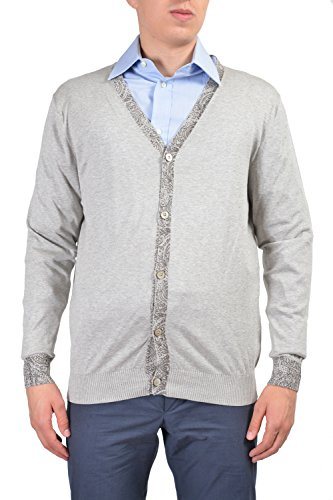 Etro Men's Gray Long Sleeve Button Down Cardigan Sweater Size US L IT 52