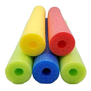 "Fix Find 52 Inch Colorful Foam Pool Swim Noodle 5 Pack in Bright Jewel Tone Multicolors 52"""