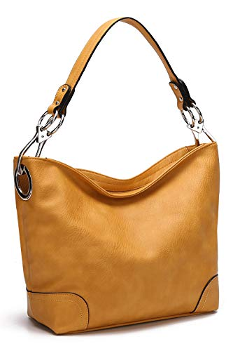 MKF Hobo bag for Women - Satchel-Tote shoulder Bag - Vegan Leather Womens Purse Top Handle Pocketbook Handbag Mustard