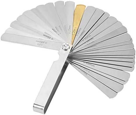32ブレードフィーラーゲージ ステンレス鋼 メトリックインペリアル0.04-0.88mm 幅測定ツール用 幅厚さ測定