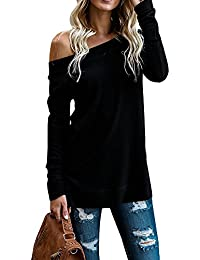Womens Sweaters Off Shoulder Casual Oversized Long Sleeve Knit Pullovers Tunic Tops