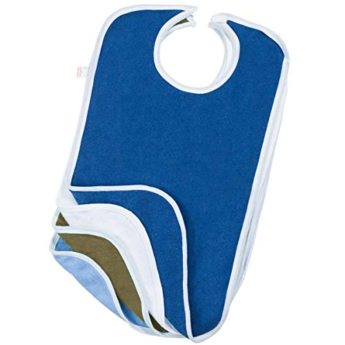 Terry Cloth Adult Reusable Bibs with Velcro Closure Pack of 4 Canadian Made (17