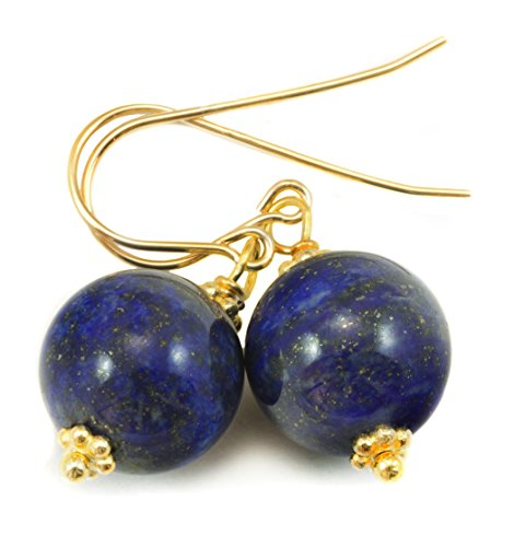 - 14k Yellow Gold Filled Lapis Lazuli Earrings Blue Smooth Round Simple Drops Beaded Goldtone Accents
