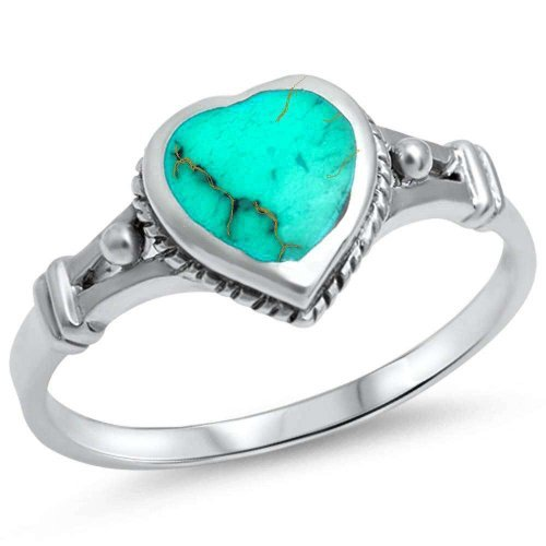 Green Turquoise Heart .925 Sterling Silver Ring Size 10