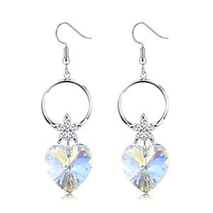 KesaPlan Swarovski Crystal Heart Earrings for Girls, Love Shaped Drop Earrings S925 Sterling Sliver Dangle Earrings for…