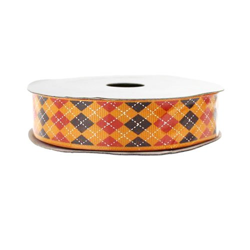 Argyle Print Grosgrain Ribbon - Orange - 7/8
