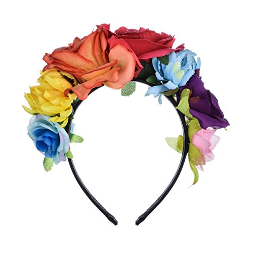 Floral Fall Day of The Dead Flower Crown Festival Headband Rose Mexican Floral Headpiece HC-23 (Fuchsia Orange)]()