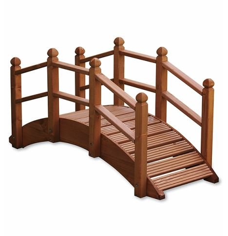 Wooden Garden Bridge Ornament Decorative Feature Teak Stained For Ponds Streams and Borders UK-Gardens