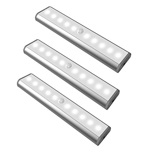 Motion Sensor Led Light, USB Rechargeable 3 Modes Switch(G,ON and OFF) Magnetic Stick On Anywhere Outdoor Portable Night Light Lamp Bulb Lighting Bar for Cabinet Closet Wardrobe (3 Pack 10LED, Silver)