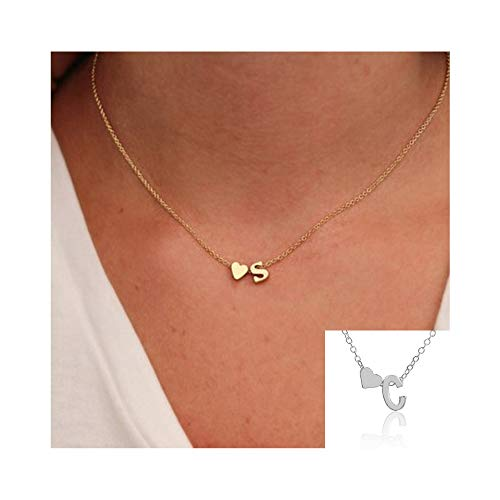 (WLLAY Fashion Tiny Dainty Love Heart Initial Necklace Personalized Letter Necklace Name Jewelry for Women Accessories Girlfriend Gift (Silver C))