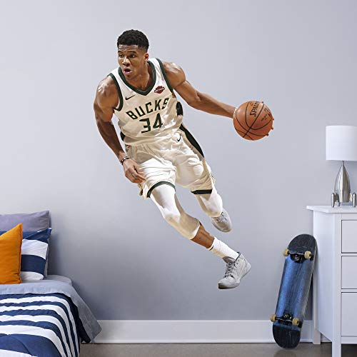 Fathead NBA Milwaukee Bucks Giannis Antetokounmpo Officially Licensed Removable Wall Decal, Multicolor, Life - Wall Sticker Fathead