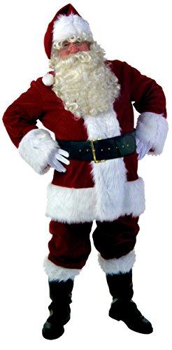 Ilishop Men's Santa Suit 10pc. Plus Size Christmas Adult Costume Red XL (Santa In Blue Suit)