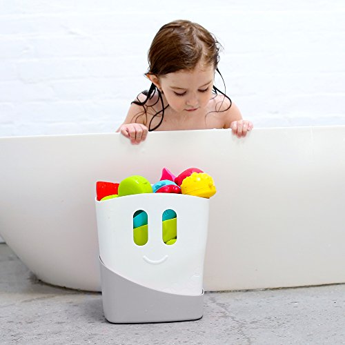 41amE89FKgL - Ubbi Freestanding Bath Toy Organizer Bath Caddy with Removable Drying Rack Bin and Scoop for Bath Toys for Toddlers + Baby - Gray