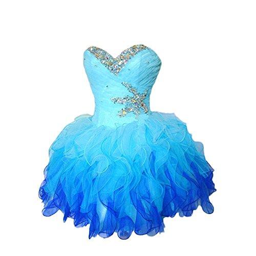 Abiball Perlen CoCogirls Partykleider Blue Ballkleid Graduierung Spitze Kleider Abendkleid Tüll Lagen All Süß Trägerlos Kleid Kurz Damen IwwqCnFv