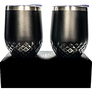 2 pack Dishwasher Safe Designer Wine Tumblers with Lids | Stemless Wine Glasses with Gift Box | Vacuum Insulated | Hammered | 12 oz | by Petra Verre | Stealth Black