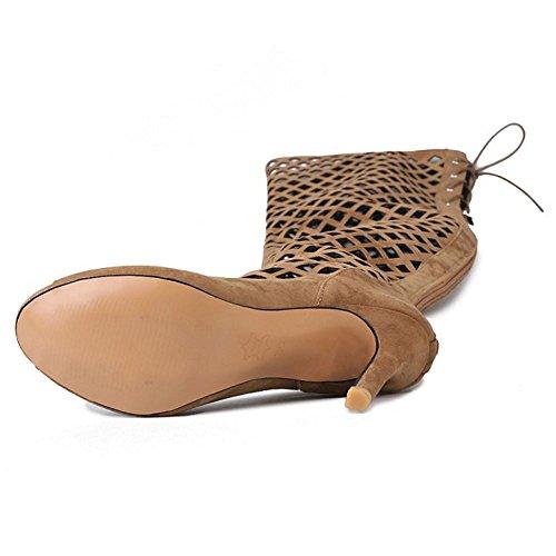 Donna Zanpa Brown Ginocchio Moda Sandali Gladiator T8fad