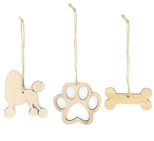 Poodle Christmas Ornament Dog Lover Gifts Wooden Christmas Ornaments 3-Piece Bundle
