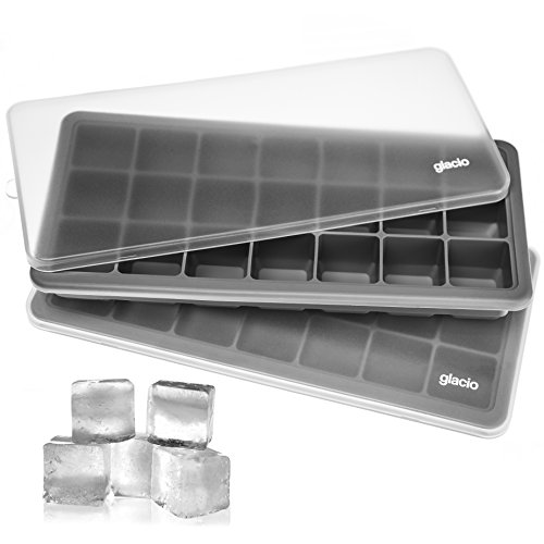 glacio Ice Cube Trays Silicone with Lids - Covered Flexible Ice Trays | Small Ice Cube Molds for Chilled Drinks, Whiskey & Cocktails | Stackable, Dishwasher Safe, BPA Free Mold Tray | Set of 2