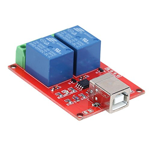 Alloet 5V 2 Channel Driver-Free USB Smart Control Switch Relay Module for PC