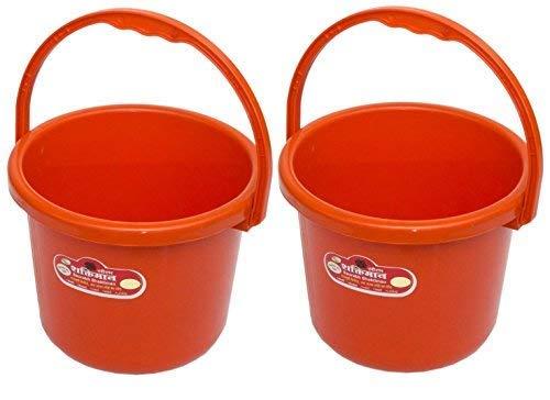 Saurabh Shaktiman Unbreakable Plastic Bucket 5 litres (Orange)- Set of 2