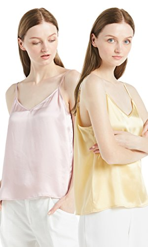 (LilySilk 2 Pack Silk Camisole for Women Pure Natural Charmeuse Mulberry 22mm V Neck Basic Tops Summer Pink+Gold S/4-6)