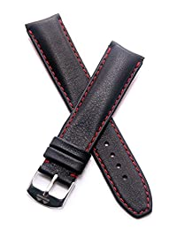 20 mm Classic black calf leather pin buckle strap with red stitching and lining to fit TAG Heuer Formula 1 watches with 20 mm lug width as listed below