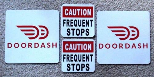 Flexible Magnets 2 DOORDASH Magnetic CAR Vehicle Signs 8 x 8 & 2 Caution Frequent Stops 5 X 5