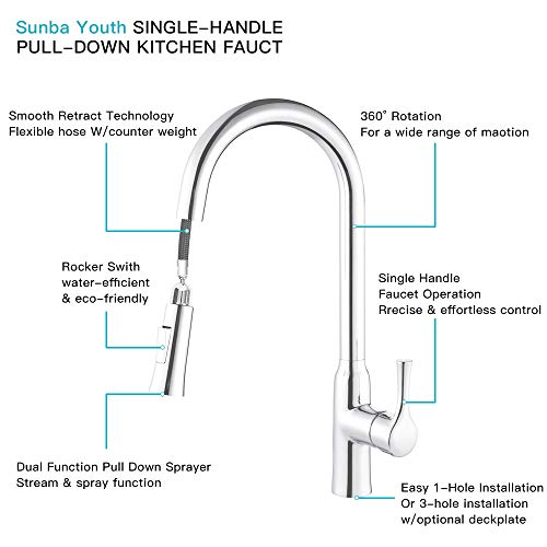 Sunba Youth Sink Faucet,Easy Install Commercial Single Handle Faucet  (Silver-2)