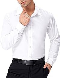 Men's Stylish Solid Long Sleeve Button Down Dress Shirt Office Shirt