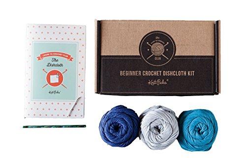 Learn to Crochet Kit: Dishcloth (Blue)
