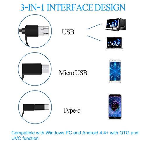 PiAEK Endoscopio USB 2.0 Megapíxeles HD 3 en 1 USB/Micro USB/Type-C Cámara de Inspección Impermeable Semirrígido Cable Endoscopio Android para ...