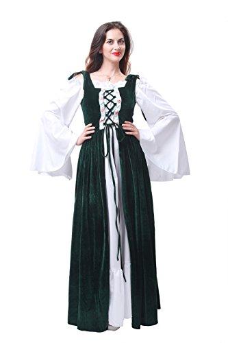 ROLECOS Womens Oktoberfest Fraulein Maid Costume Maxi Dress Halloween Costumes Green XL (Beer Halloween Costumes)