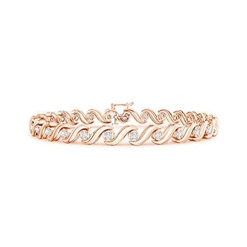 (Lab Grown Diamond S Swirl Link Tennis Bracelet in 14K Rose Gold)