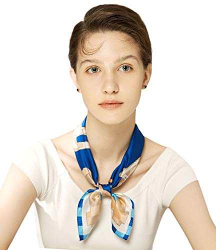 Silk Scarf Small Square For Women, Jeelow 100% Silk Small Scarves For Hair Neckerchief (Blue - Classic Scarf Silk Pure