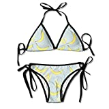 Jiuyuan Women's Banana Printing Carton Beachwear Swimsuit Adjustable Sexy Bikinis Set