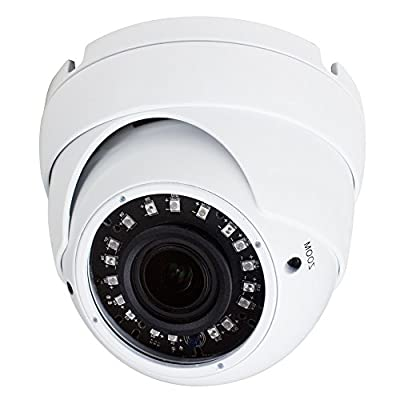 R-Tech 1080p 4-in-1 AHD / CVI / TVI / Analog Outdoor Dome Security Camera with New-Style SMD High-Intensity IR LEDs for Night Vision - 2.8-12mm Varifocal (White) from R-Tech