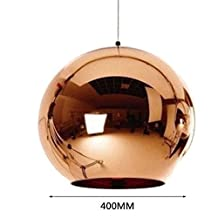 Globe Copper Color Glass Mirror Ball Pendant Light Electroplate Hanging Lamp Lighting Fixture for KTV Dining Room Bar Restaurant,1head,D400mm- copper