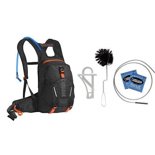 Cleaning Camelbak Bladder - CamelBak Skyline 10 LR Hydration Pack (Black/Laser Orange) w/ Reservoir Cleaning Kit