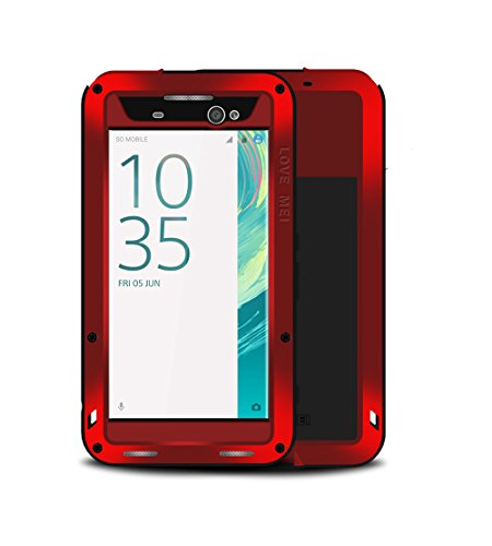 Mangix Case Compatible Xperia XA Ultra, Water Resistant Shockproof Aluminum Metal Super Anti Shake Silicone Fully Body Protection with Gorilla Glass Screen Protector for Xperia XA Ultra