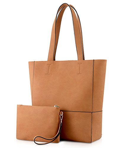 Plambag Vegan Leather Tote, Women's Faux Leather Purse Handbag for Work Office, with Removable Wrist Bag(Brown)