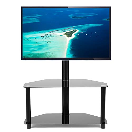 Rfiver Black Corner Floor TV Stand with Swivel Mount Bracket for 32 37 42 47 50 55 inches Plasma LCD LED Flat or Curved Screen TVs, 2-Tier Tempered Glass Shelves for Audio Video, TW2001 ()