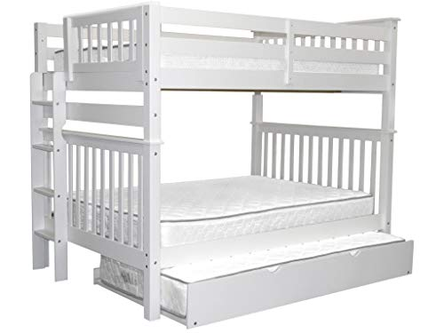 (Bedz King Bunk Beds Full over Full Mission Style with End Ladder and a Twin Trundle, White )